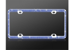 License Plate Frame Double Row Blue Crystal
